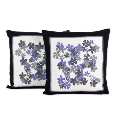 Cotton Artisan Crafted Cushion Covers with Flowers (Pair)