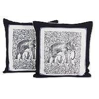 Cotton cushion covers, 'Elephant' (pair) - Artisan Crafted Cotton Elephant Cushion Covers (Pair)