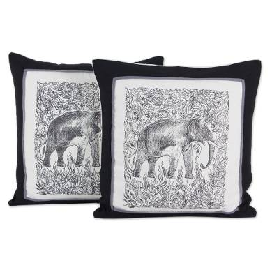 Artisan Crafted Cotton Elephant Cushion Covers (Pair)