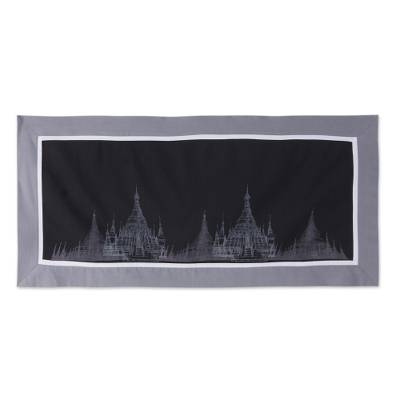 Cotton table runner, 'Thai Pagoda' - 100% Cotton Artisan Crafted Table Runner with Pagoda Motif