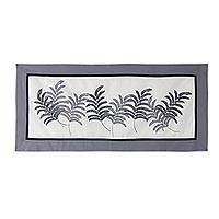 Cotton table runner, 'Tamarind Leaf' - 100% Cotton Artisan Crafted Table Runner with Leafy Motif