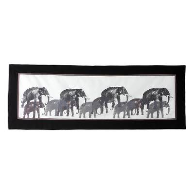 Cotton table runner, 'Marching Elephants' - Artisan Crafted 100% Cotton Table Runner with Elephant Motif