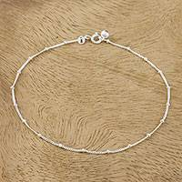 Sterling silver station anklet, 'Relaxing Walk' - Sterling Silver Station Anklet from Thailand