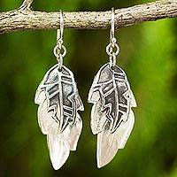 Sterling silver dangle earrings, 'Exotic Leaf Shadows' - Double Exotic Leaf Earrings Handmade in 925 Sterling Silver