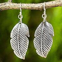 Sterling silver dangle earrings, 'Tropical Leaves' - Sterling Silver Thai Tropical Leaf Earrings Handmade Jewelry