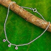Amethyst anklet, 'Light'