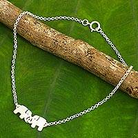 Sterling silver anklet, 'Elephant Friendship'