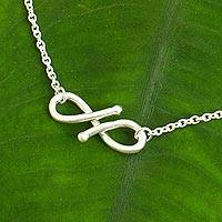 Sterling silver anklet, 'Until Forever'