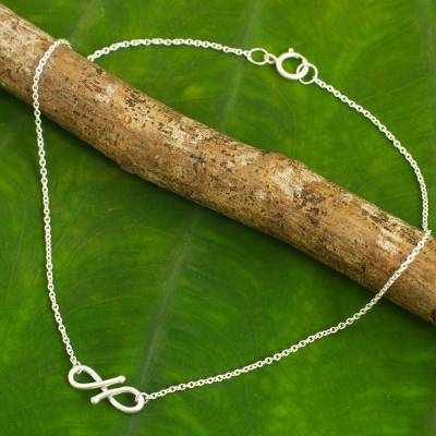 Sterling silver anklet, 'Until Forever' - Modern Infinity Symbol Handcrafted Sterling Silver Anklet