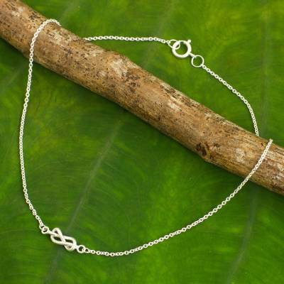 Sterling silver anklet, 'Infinity Knots - Handcrafted Sterling Silver Infinity Symbol Knot Anklet