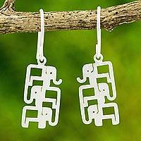 Sterling silver dangle earrings, 'Elephant Pyramid' - Brushed Sterling Silver Three-Elephant Dangle Earrings