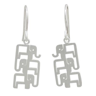 Sterling silver dangle earrings, 'Elephant Pyramid' - Brushed Sterling Silver Three-Elephant Dangle Earrings