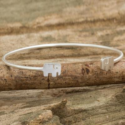 Sterling silver cuff bracelet, 'Loyal Elephants' - Thai Artisan jewellery Sterling Silver Cuff Elephant Bracele