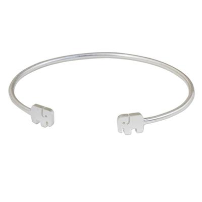 Thai Artisan Jewelry Sterling Silver Cuff Elephant Bracelet