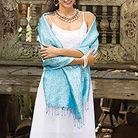 Rayon and silk blend shawl, 'Mandarin Sky' - Artisan Crafted Blue Rayon Blend Shawl with Floral Motif