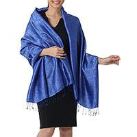 Featured review for Rayon and silk blend shawl, Mandarin Royal