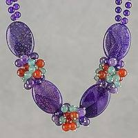 Agate beaded necklace, 'Icy Lavender' - Beaded Jewelry Quartz Statement Necklace Crafted by Hand