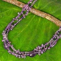 Amethyst long beaded necklace, 'Precious Lavender' - Handmade Beaded Amethyst 38-Inch Long Statement Necklace