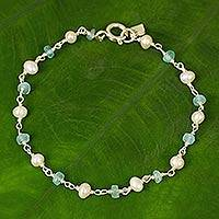 Cultured pearl and apatite link bracelet, 'Morning Blue'