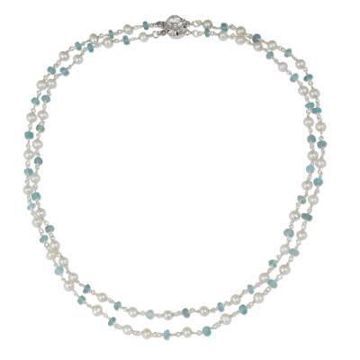 Cultured pearl and apatite strand necklace, 'Regal Water Lily' - White Pearl and Apatite Strand Necklace with Flower Clasp