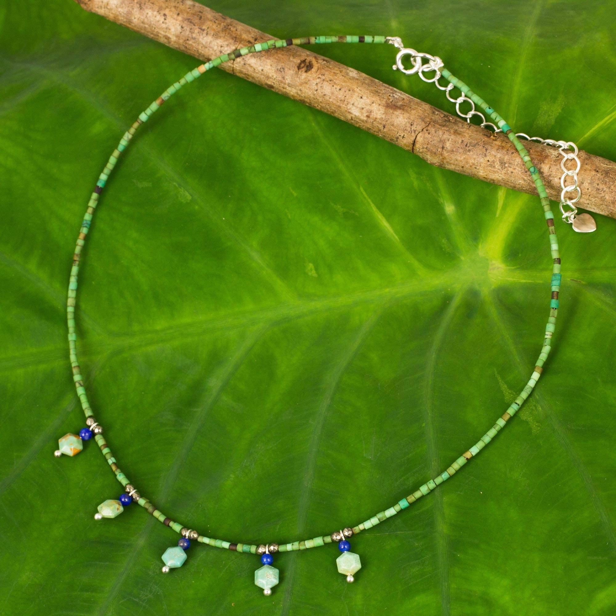 Green Essence Hand Crafted Multi-gemstone Beaded Necklace Turquoise lapis lazuli 925 sterling silver pyrite The Perfect Necklace