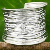 Silver cuff bracelet, 'Wide Forest Bark' - Artisan Made Thai Jewelry 950 Silver Wide Cuff Bracelet
