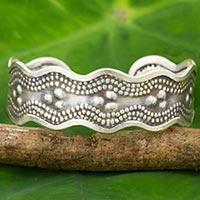 Silver cuff bracelet, 'Karen Seas' - Karen Hill Tribe Silver Cuff Bracelet Artisan Made Jewelry