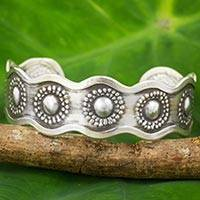 Silver cuff bracelet, 'Karen Floral' - Artisan Crafted Silver Cuff Bracelet with Floral Motif