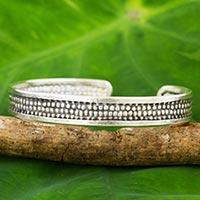 Silver cuff bracelet, 'Joyful Karen' - Artisan Crafted Silver Cuff Bracelet with Dot Motif