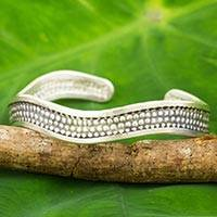 Silver cuff bracelet, 'Karen Fun' - Artisan Crafted Silver Cuff Bracelet with Oxidized Accents