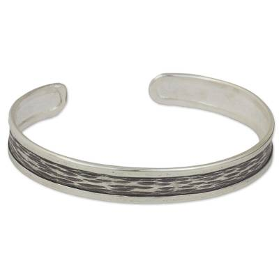 Silver Artisan Crafted Cuff Bracelet from Thailand