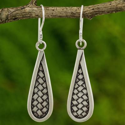 Silver dangle earrings, 'Karen Morning' - Artisan Crafted Silver Dangle Earrings from Thailand