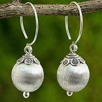 Silver dangle earrings, 'Budding Jasmine' - Hand Crafted Silver Dangle Earrings from Thailand