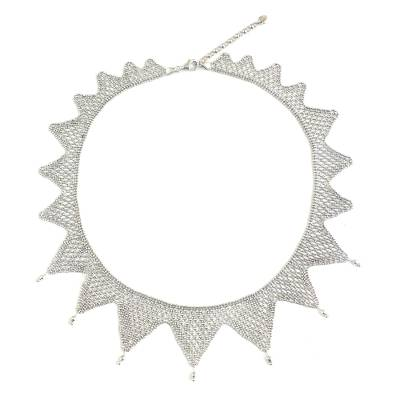 Beaded Star Artisan Crafted 925 Sterling Silver Necklace