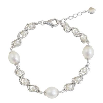 Artisan Crafted Pearl and 925 Sterling Silver Bracelet
