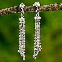 Sterling silver waterfall earrings, 'Disco Chimes' - Artisan Crafted Sterling Silver 925 Waterfall Earrings