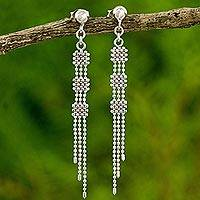 Sterling silver waterfall earrings, 'Torrents' - Modern Design Handcrafted Earrings in 925 Sterling Silver