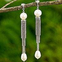 Cultured freshwater pearl waterfall earrings, 'Dancing Lily' - Handcrafted Cultured Pearl and Silver Waterfall Earrings