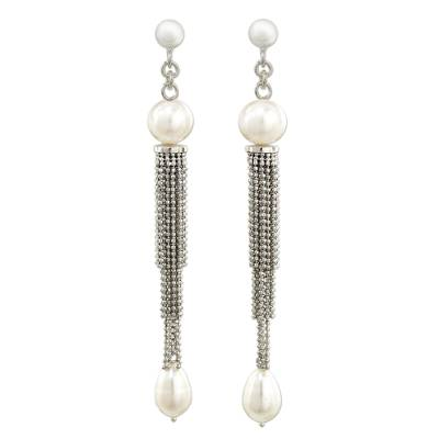 Handcrafted Cultured Pearl and Silver Waterfall Earrings