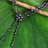 Cultured pearl beaded pendant necklace, 'Summer Nights' - Black Cultured Pearl Beaded Necklace with Floral Pendant