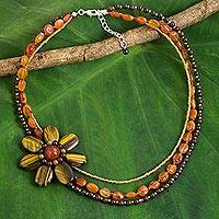 Tiger's eye flower pendant necklace, 'Lady Gerbera' - Tiger's Eye Pendant Necklace with Jasper and Carnelian Beads