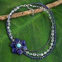 Lapis lazuli flower pendant necklace, 'Lady Gerbera' - Lapis Lazuli Pendant Necklace with Topaz and Calcite Beads