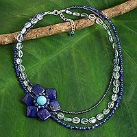 Lapis lazuli flower pendant necklace, 'Lady Gerbera'