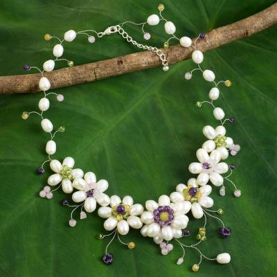 Cultured pearl flower necklace, Zinnia Garden
