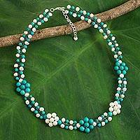 Cultured pearl beaded necklace, 'Blue Primrose' - Cultured Pearl Calcite Necklace with Floral Motif