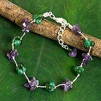 Amethyst beaded bracelet, 'Everlasting' - Dyed Quartz Amethyst Beaded Bracelet from Thailand