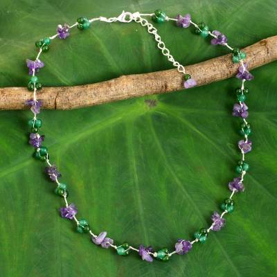Amethyst beaded necklace, 'Everlasting' - Dyed Green Quartz Amethyst Beaded Necklace from Thailand