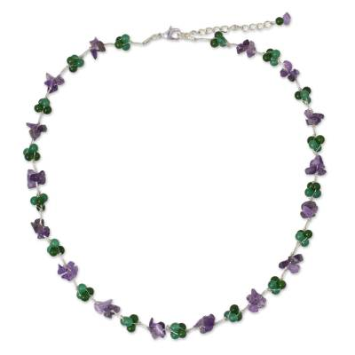Dyed Green Quartz Amethyst Beaded Necklace from Thailand