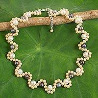 Cultured pearl beaded necklace, 'Peach Mist' - Handcrafted Modern Thai Natural Pearl Necklace