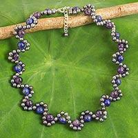 Multi-gemstone beaded necklace, 'Cool Mist' - Cultured Pearl Necklace with Lapis Lazuli and Amethyst